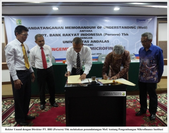 Unand-BRI Jalin Kerjasama Pengembangan Micro Finance Institution